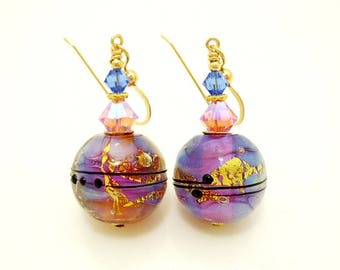 Pink Blue Earrings, Lampwork Earrings, Glass Earrings, Beadwork Earrings, Modern Earrings, Gold Filled Earrings, Unique Earrings