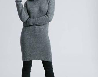 50% SALE Sweater Dress / Turtleneck Dress / Long Sleeve Dress / Midi Dress / Wool Dress / Winter Dress / marcellamoda k - MD791