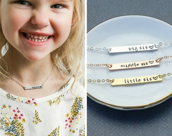 Big Sis Necklace Middle Sis Gift • Little Sis Jewelry Sibling Announcement•Little Sister Jewelry Sister Necklace•Sister Gift Set
