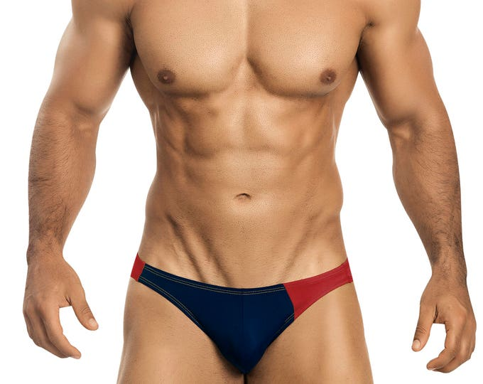 Navy Blue & Red Asymmetrical Swim Bikini for Men by Vuthy Sim    15-5