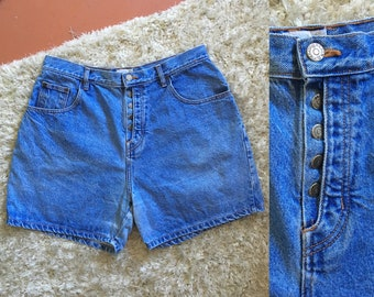 "90s High-waisted Denim Shorts / 35"" waist"