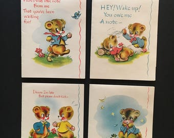 8 Vtg Bears Greeting / Note Cards - Unused With Envelopes - Please Write, Sorry I Didn't Write, Etc - NOS