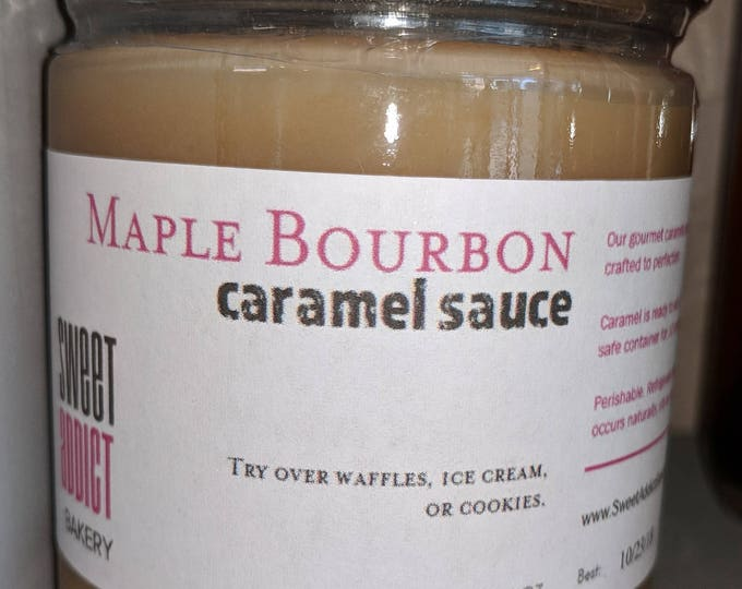 Maple Bourbon Caramel Sauce - for ice cream, pies, waffles, popcorn, cheesecake, gift for HUSBAND, BRIDESMAID, Groom, Fathers Day, Christmas