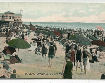 Beach Crowd Scene Umbrellas Asbury Park New Jersey 1910c postcard