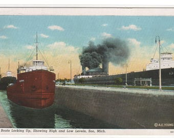 Steamers Great Lakes Ship Locking Up Soo Michigan linen postcard