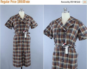 FLASH SALE - Vintage 1950s Dress / 50s New Look Day Dress / Brown Plaid Cotton Dress / Ann Taylor Original Deadstock with Tags