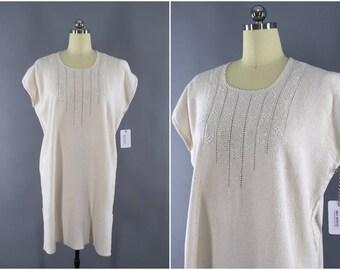 Vintage Embroidered Cotton Gauze Dress / Embroidered Caftan / Bohemian Kaftan / Embroidery Tunic