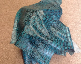 6-751.  Turquoise Embossed Reptile Leather Cowhide Partial