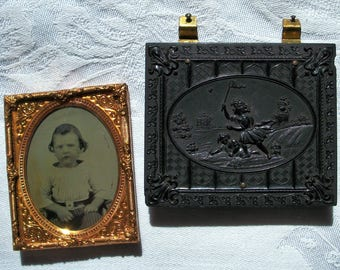 Gutta Percha Half Union Case w/ Ambrotype, Thermoplastic, Children Chasing Butterflies