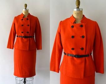 1960s Vintage Suit - 60s MOD Scarlet Red Wool Skirt and Jacket Set