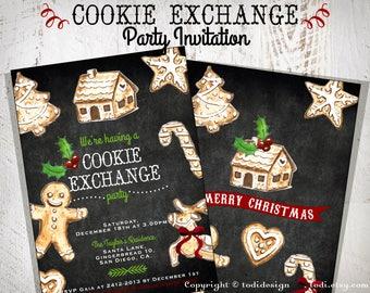 Cookie Exchange party invitation - Holiday Invitation - Printable digital files