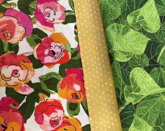 """Reserved for Nina - 14 x 78"""" Quilted Table Runner, Spring Summer Pink Red Peach Roses, Flower Table Runner"""