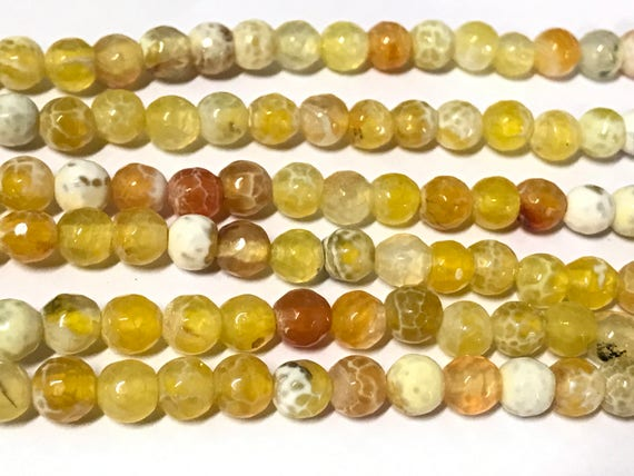 20 BEADS - Small 6 mm size yellow colors dragon veins faceted Agate gemstone beads-  GM445