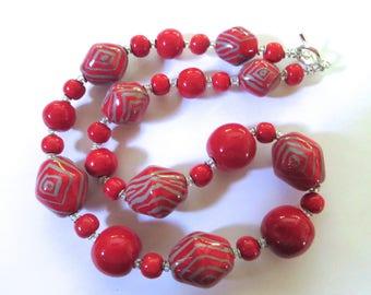 Kazuri Beaded Necklace, Ceramic Necklace, Red and Grey Kazuri Necklace