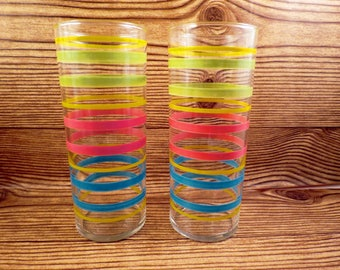 2 Retro Ringed Drinking Tumblersl Glass Striped Vintage Stripe Barware MCM Decorated
