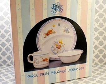 1986 Precious Moments 3 pc Child's Baby Toddler Melamine Dinner Dish Set Sealed 1986 Vtg