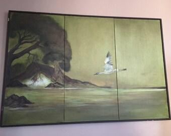 Huge Original Mid Century Signed Painting