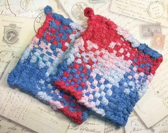 David's Potholders  - Woven Potholders -Cotton Potholders - Red Pink Blue Hot Pad - Cotton Trivet - Handmade -Set of 2