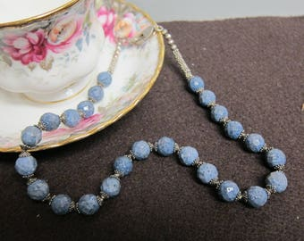 Faceted Agate 8 mm slate blue beaded 17 inch necklace .925 S.S. clasp watercolorsNmore