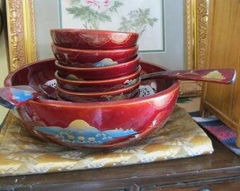 Japanese Lacquerware Salad Bowl set