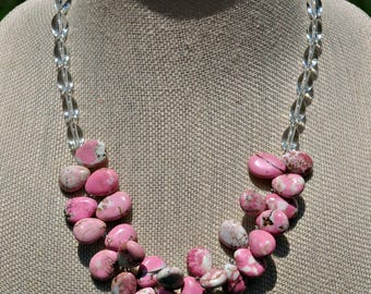 Pink Howlite Turquoise Briolette Necklace