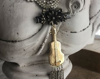 beautiful music - vintage guitar necklace antique victorian mourning gutta percha rhinestone chain fringe, the french circus