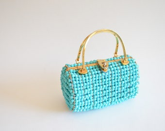 Vintage 1960s BEADED top handle purse