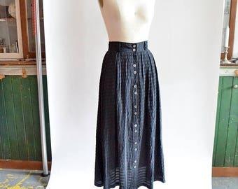 25% off Storewide // Vintage 1980s black SILK buttonup skirt