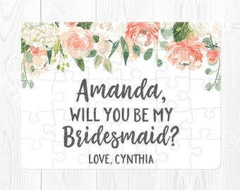 Will You Be My Bridesmaid Puzzle Bridesmaid Proposal Card Will You Be My Bridesmaid Proposal Gift Ask Bridesmaid Proposal Puzzle Peach Cream