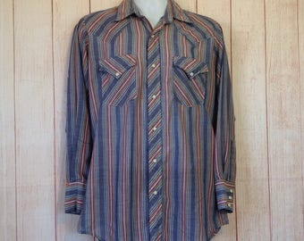 Vintage 90s Ely Plains Pearl Snap Blue Striped Country Western Shirt Mens 15 Medium