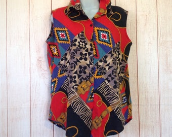 Vintage 90s Dion Sleeveless Country Western Button Down Southwest Print Ladies M