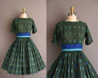 Miss Trude Jr. dark green cotton full skirt vintage 1950s dress. vintage 50s dress