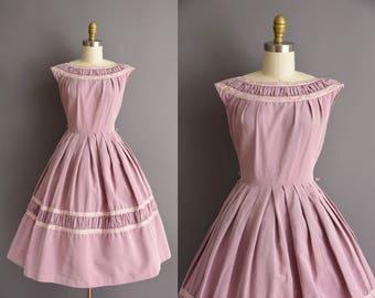 vintage 1950s grosgrain lavender full skirt dress 50s Small Medium floral trim day dress