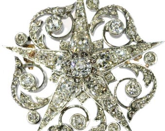 Antique diamond star brooch silver 18k rose gold old European cut diamonds 5.75ct Victorian French stamped jewelry