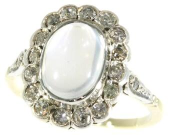 Cabochon moonstone diamond ring 14k yellow gold brilliant cut diamonds .54ct vintage engagement ring