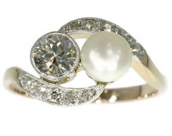White pearl diamond ring swirl 14k yellow gold old European cut diamond .38ct brilliant cut diamonds .20ct antique engagement ring