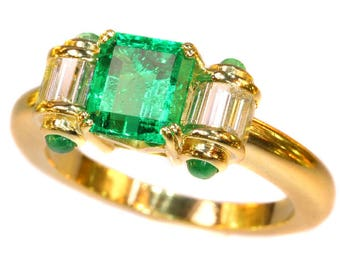 Colombian emerald diamond ring 18k yellow gold cabochon emeralds baguette cut diamonds .48ct vintage engagement ring