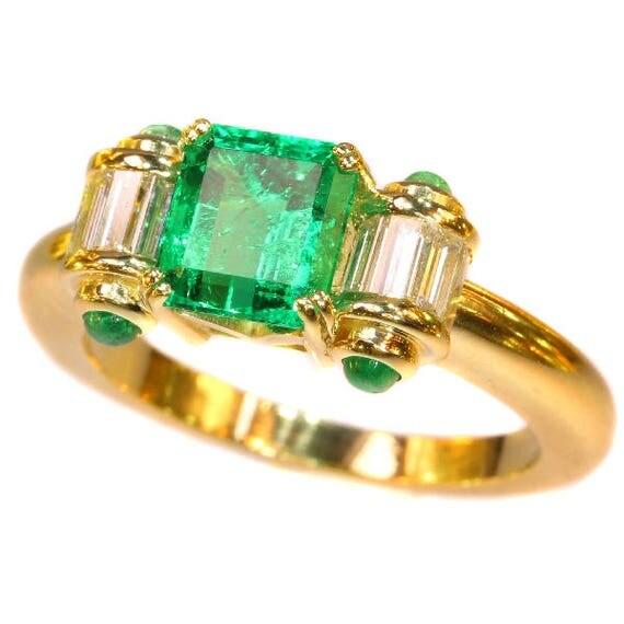 Colombian emerald diamond ring 18k yellow gold cabochon emeralds baguette cut diamonds .48ct vintage engagement ring
