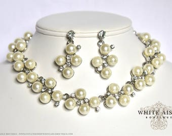 Ivory Pearl Bridal Jewelry Set Crystal Wedding Choker Necklace Earrings Vintage Inspired Prom Evening Pageant Jewelry