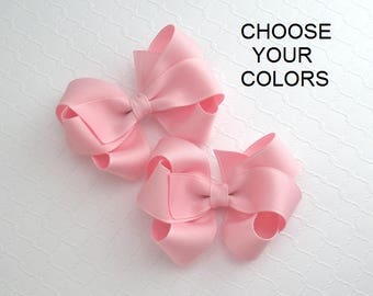 Pigtail Hair Bow Clips, Toddler Girls Twin Hair Bows, Boutique Hair Bows, Pick Your Colors, Pinwheel Bows