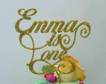 Cake Topper, First Birthday, Personalized, Gold, Baby's 1st Birthday Party