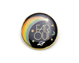 Far Out Retro Style Enamel pin by Lucky Horse Press // handmade in USA