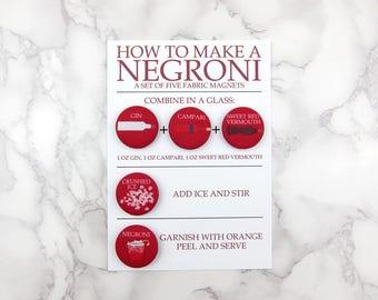 Negroni Cocktail Recipe Magnet Set by Megan McCrary