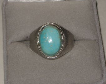 You Finger Looks Great Retro Sterling Silver Turquoise Ring Size 11