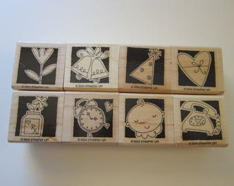 8 rubber stamps - OCCASIONALLY - baby, party hat, alarm clock get well, flower, telephone - Stampin Up 2004