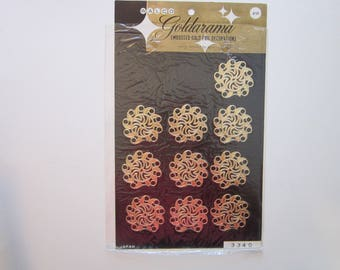 10 vintage Goldarama embossed gold foil decorations - paper Dresden - gold paper lace, embossed gold paper decoupage decorations, foil scrap