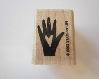 rubber stamp - HEART IN HAND - Stampin Up circa 2000, used rubber stamp