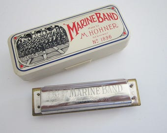 vintage Hohner Marine Band harmonica with box - A440 C - No 1896, made by M. Hohner in Germany