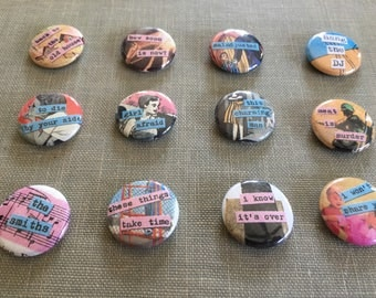 Smiths Morrissey art pins buttons.  Set of 12