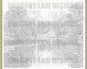 INSTANT DOWNLOAD - Advanced Colouring Scenic 2 - Digital Stamp - river water trees scenic castle moat